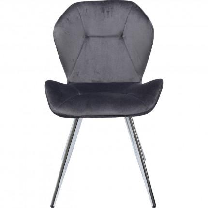 Chaise Viva velours gris et chrome Kare Design