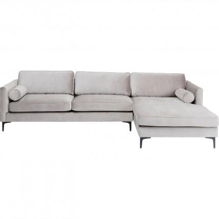 Canapé d'angle Cabaret droite velours gris Kare Design