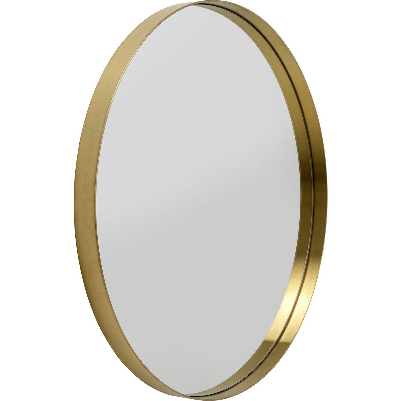 Miroir Curve rond laiton 80cm Kare Design