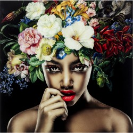Tableau en verre femme fleurs tropicales 120x120cm Kare Design