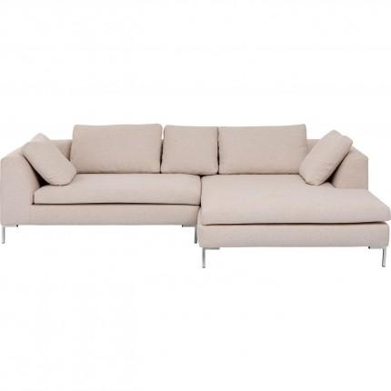 Canapé d'angle Gianna 290cm droite crème pieds chromés Kare Design