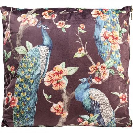 Coussin paon fleurs 45x45cm Kare Design