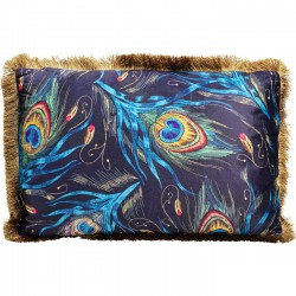 Coussin à franges Paon plumes bleues 40x60cm Kare Design