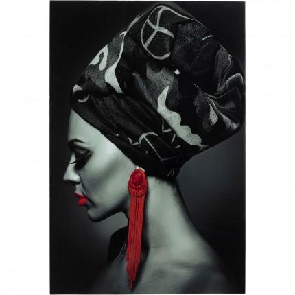 Tableau en verre femme boucles rouges 80x120cm Kare Design