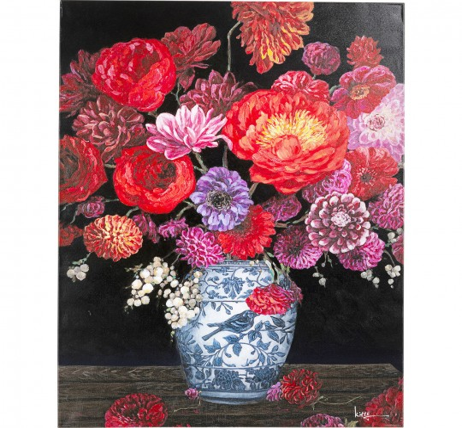 Tableau Touched fleurs vase 90x120cm Kare Design