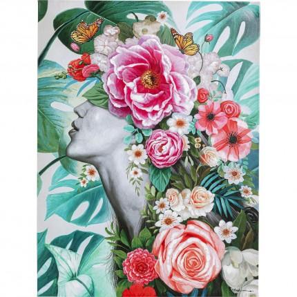 Tableau Touched femme jungle fleurs 90x120cm Kare Design