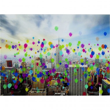 Tableau en verre Buildings Ballons 80x60cm Kare Design