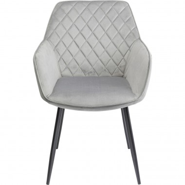 Chaise avec accoudoirs Kayla velours gris Kare Design