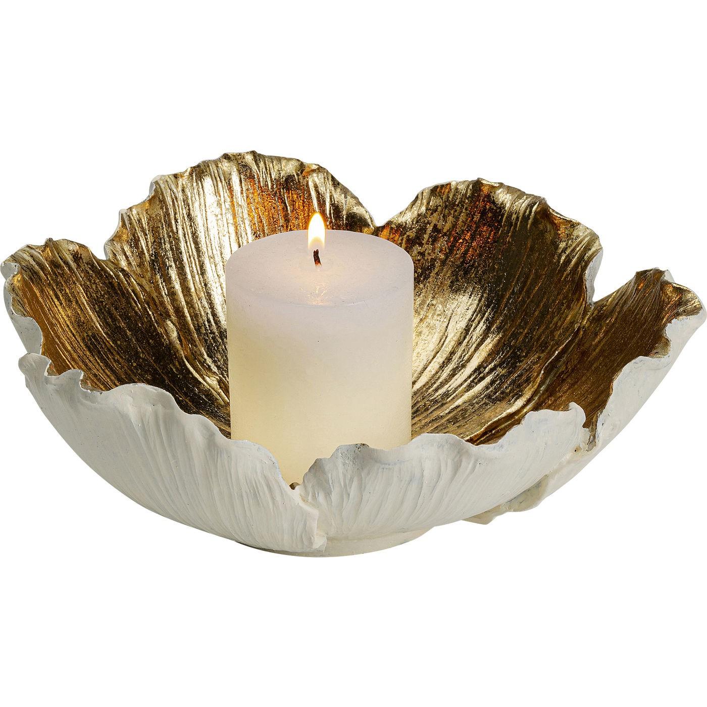 Coupe fleur dorée et blanche 25cm Kare Design