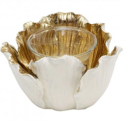 Photophore fleur dorée et blanche 10cm Kare Design