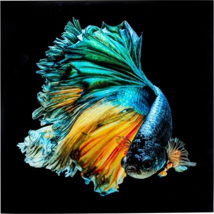 Tableau en verre poisson bleu 100x100cm Kare Design