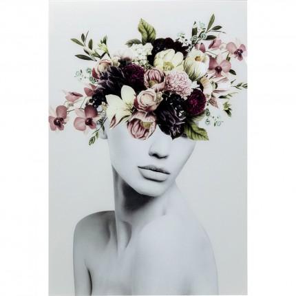 Tableau en verre femme fleurs automne 80x120cm Kare Design