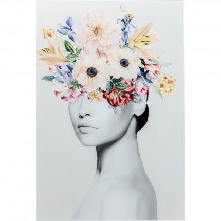 Tableau en verre femme fleurs printemps 80x120cm Kare Design
