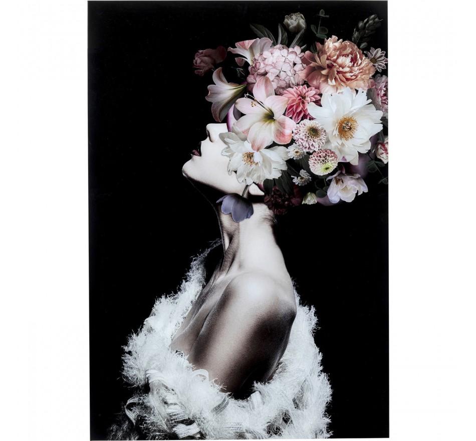 Tableau en verre femme fleurs roses 80x120cm Kare Design