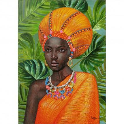 Tableau femme africaine orange collier 70x100cm Kare Design
