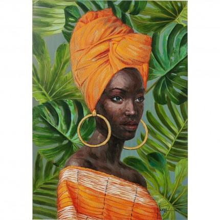 Tableau femme africaine orange créoles 70x100cm Kare Design