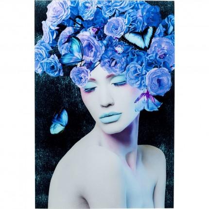 Tableau en verre femme fleurs bleues 80x120cm Kare Design