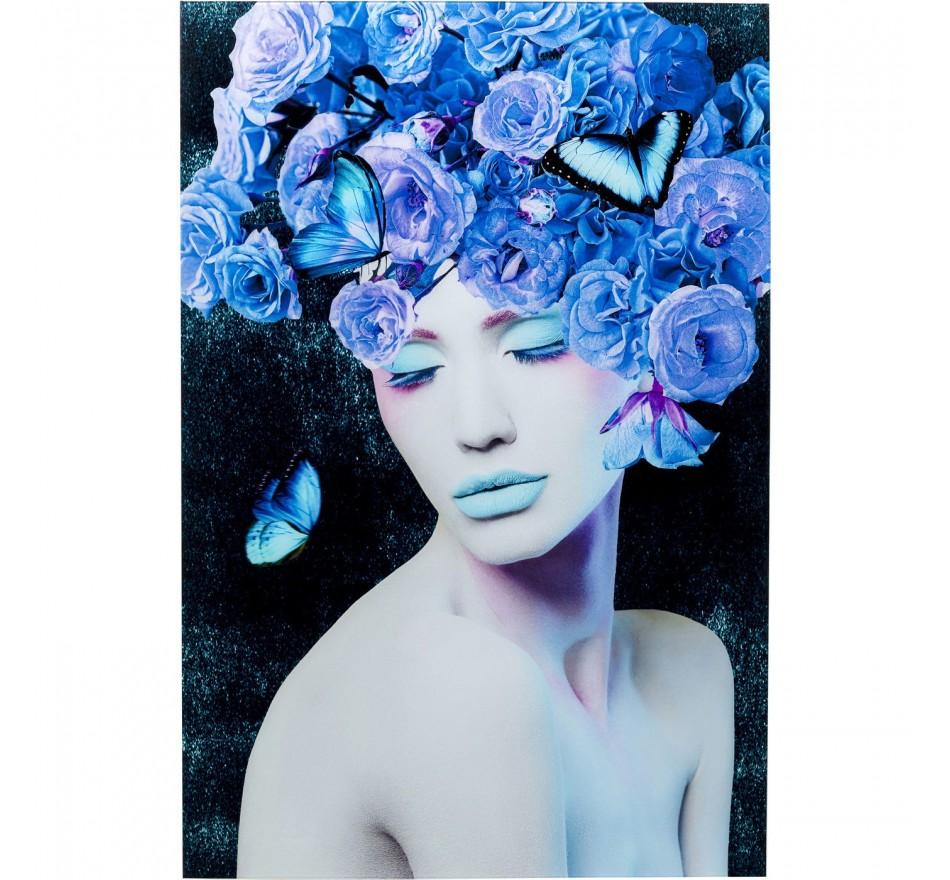 Tableau en verre fleurs bleues 80x120cm Kare Design
