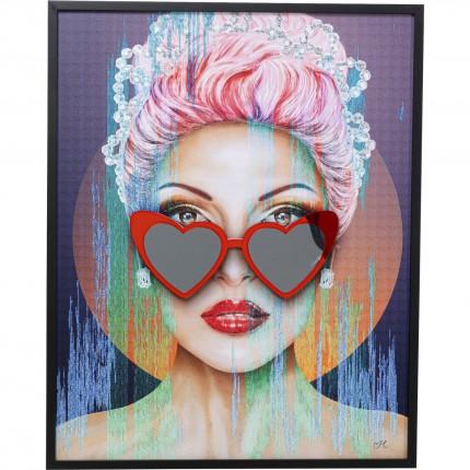 Tableau femme lunettes cœurs rouges 80x100cm Kare Design