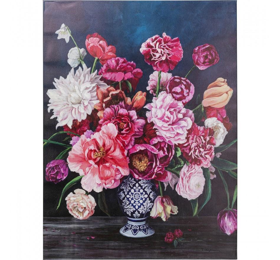 Tableau bouquet fleurs vase 90x120cm Kare Design