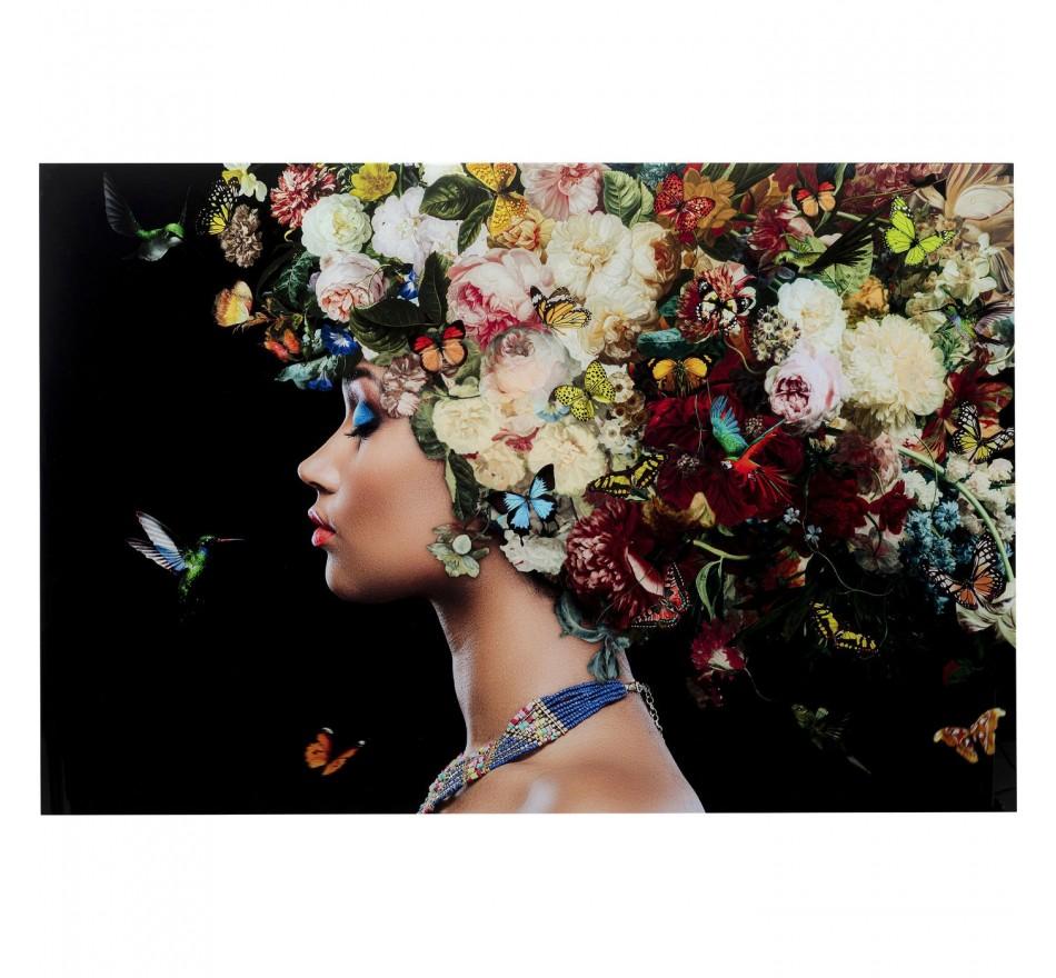 Tableau en verre femme fleurs papillons 150x100cm Kare Design