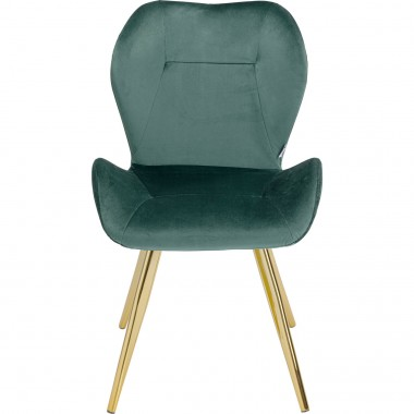Chaise Viva velours vert et or Kare Design