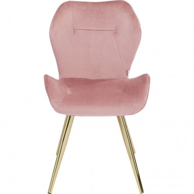 Chaise Viva velours rose et or Kare Design