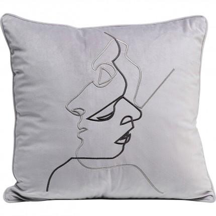 Coussin gris visages couple 45x45cm Kare Design
