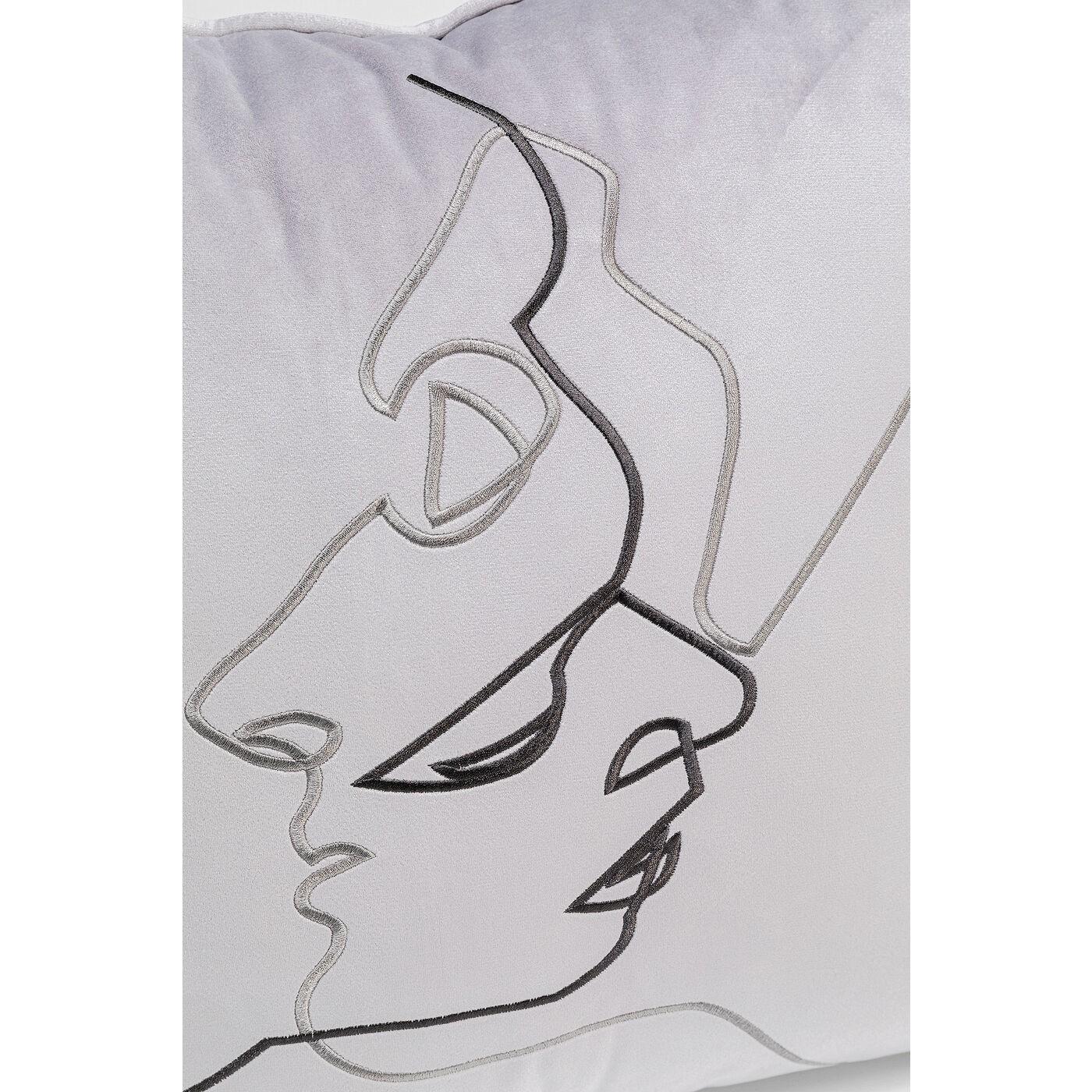 Coussin gris visages couple Kare Design