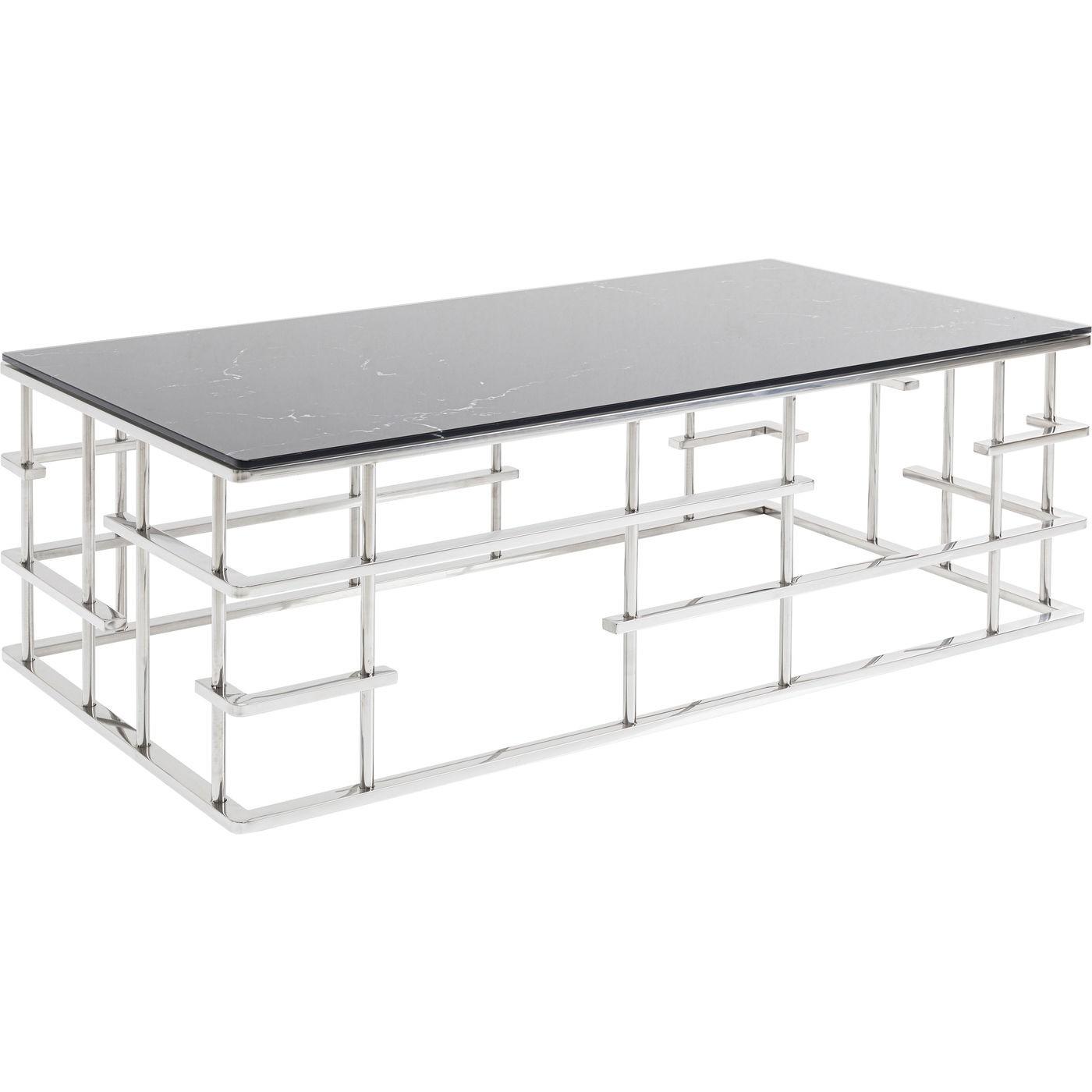 Table basse Rome 130x70cm noir et argent Kare Design