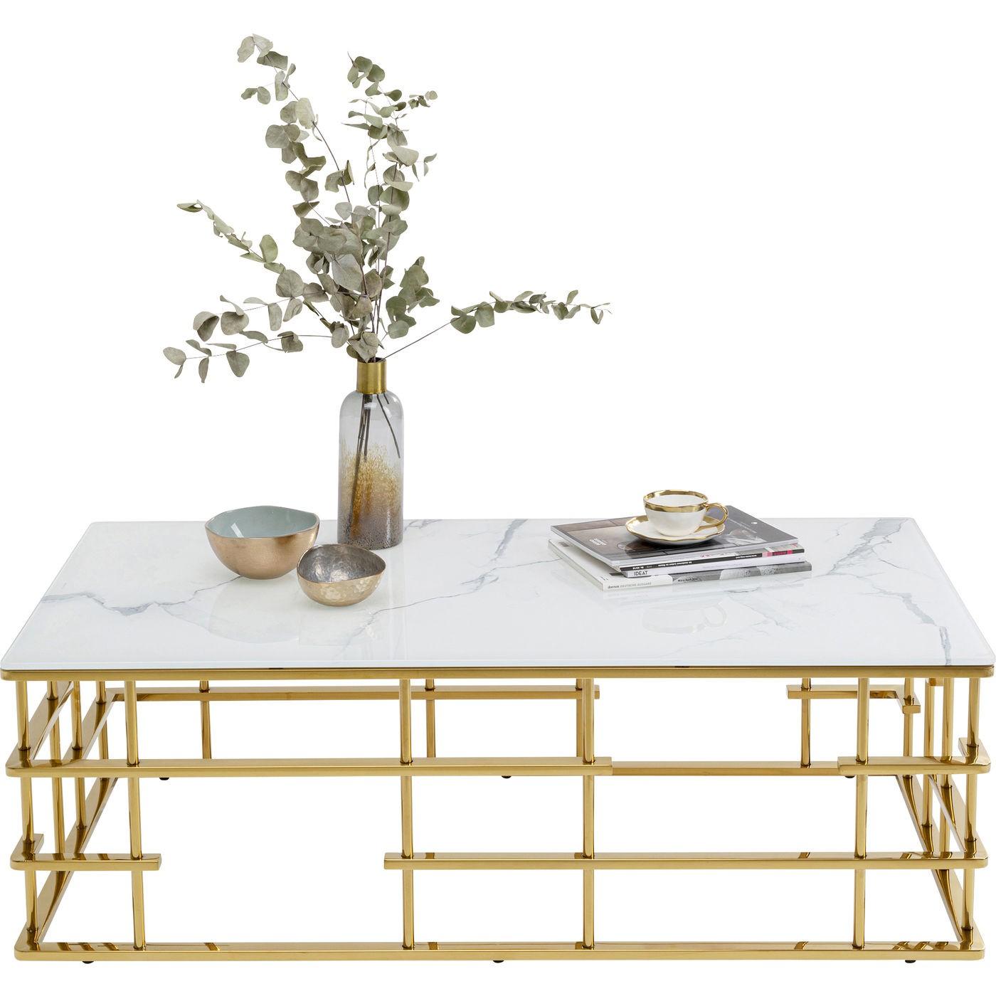 Table basse Rome 130x70cm blanc et or Kare Design