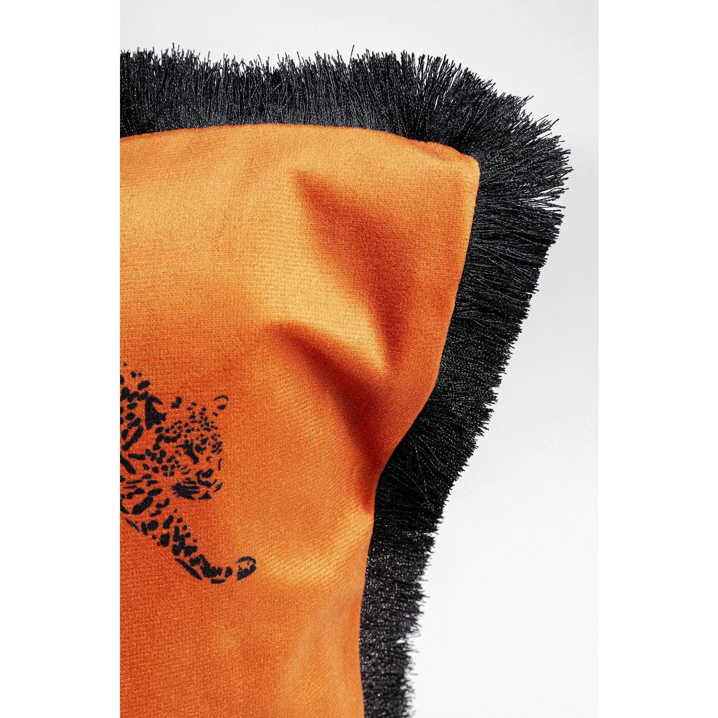 Coussin à franges orange Panthères 45x45cm Kare Design