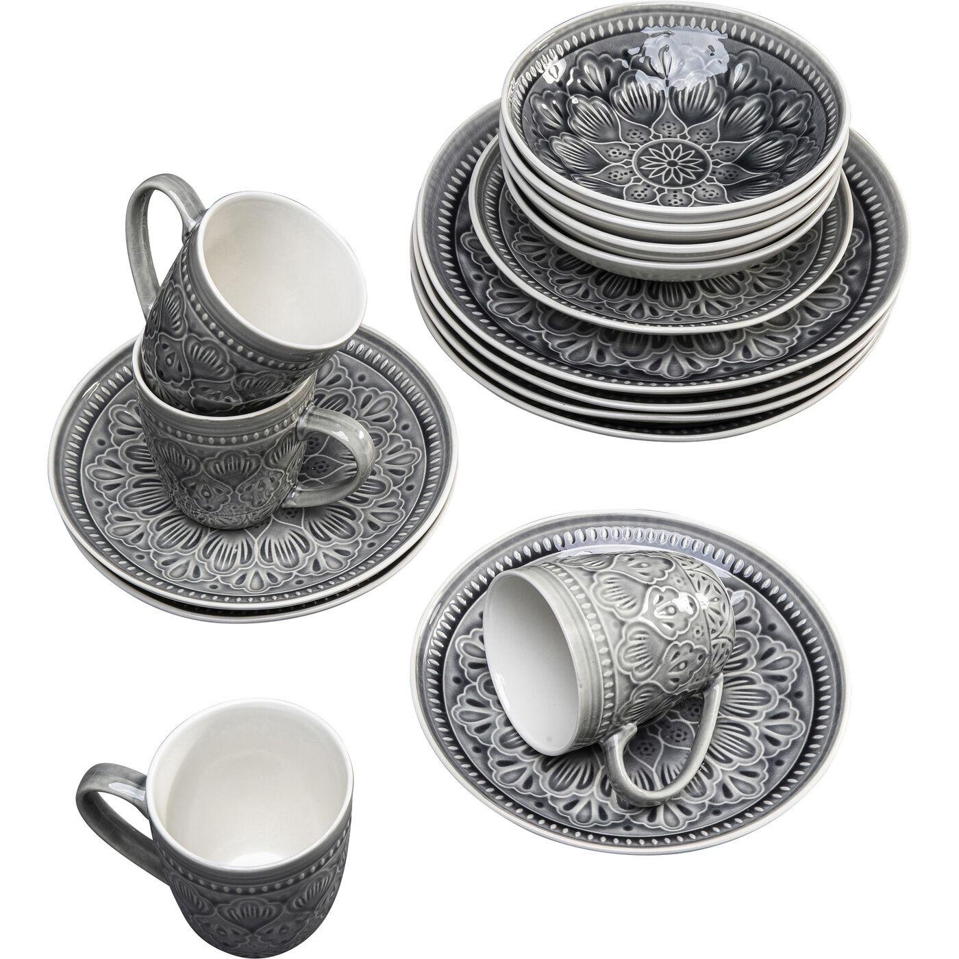 Set de vaisselle Sicilia Mandala gris Kare Design