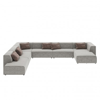 Canapé 2 angles Infinity gris 6 assises Kare Design