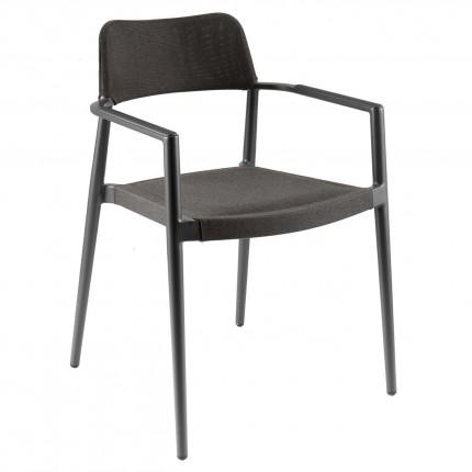 Chaise de jardin avec accoudoirs Chili noire Gescova