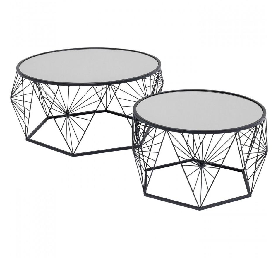 Tables basses Cobweb noires set de 2 Kare Design