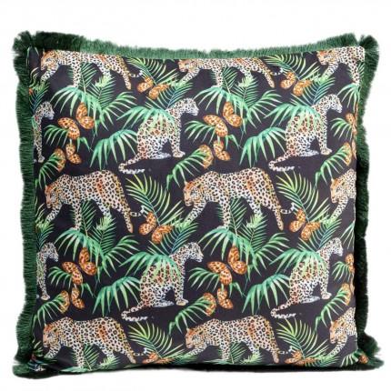 Coussin à franges Jungle léopards 45x45cm Kare Design