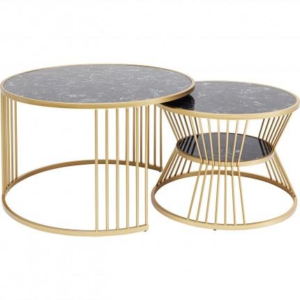 Tables basses Roma set de 2 noires et dorées Kare Design