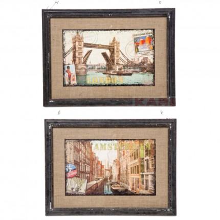 Tableaux villes vintage 42x58cm set de 2 Kare Design