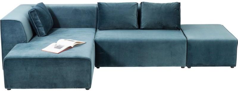 Canapé d'angle Infinity gauche velours océan Kare Design