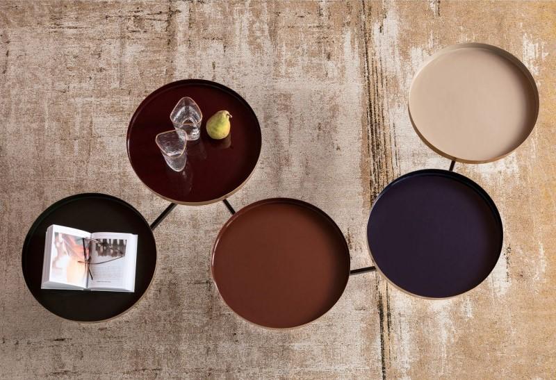 Table basse curve multicolore laiton Kare Design