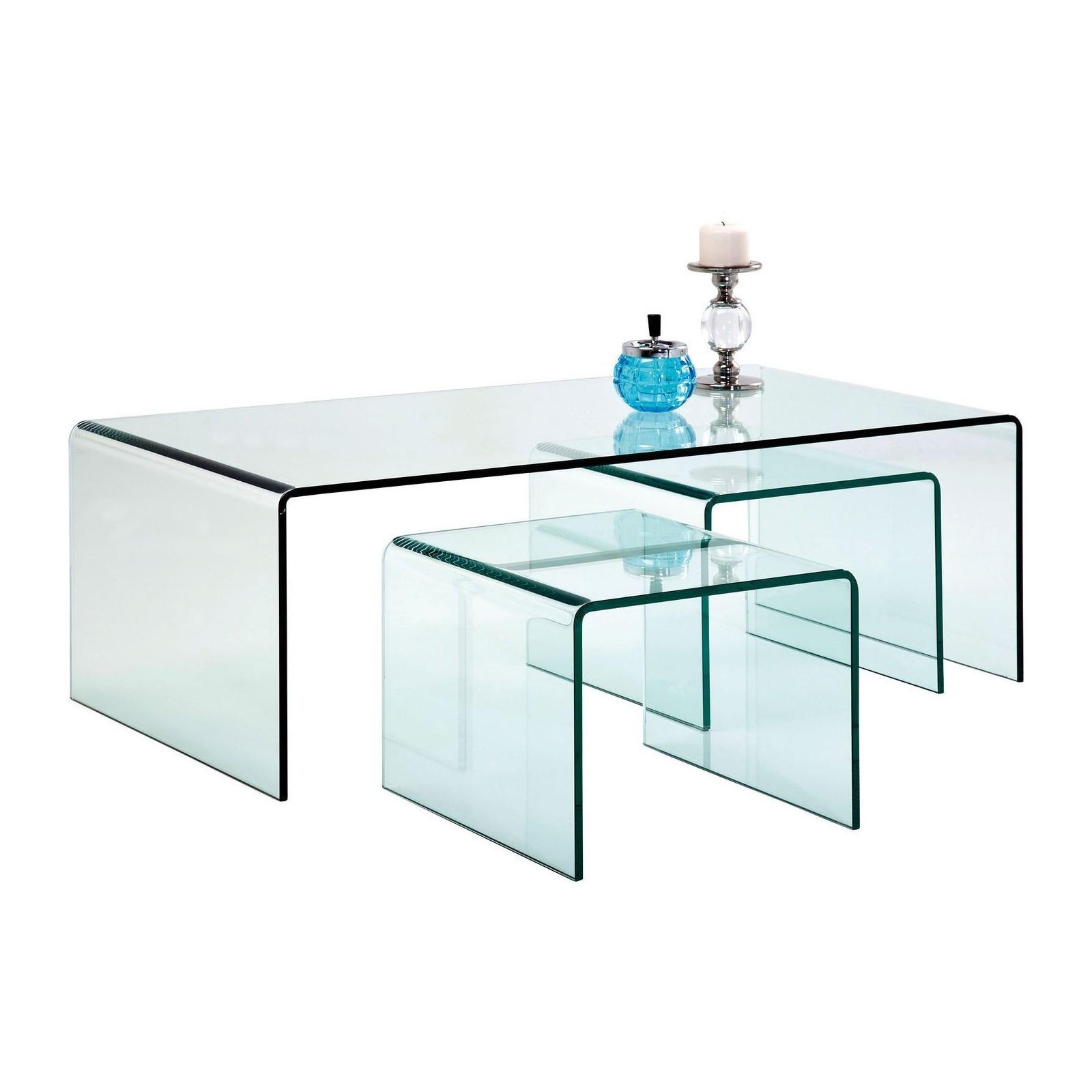 TABLES BASSES TRANSPARENTES CLEAR CLUB SET DE 3 KARE DESIGN