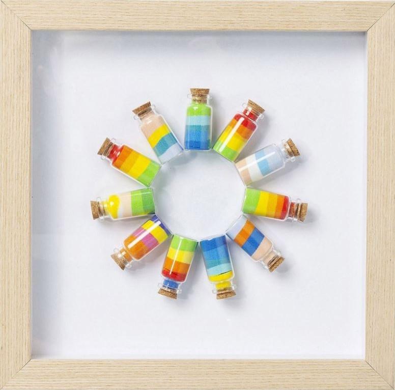 Tableau 3D ronde de fioles multicolores Kare Design